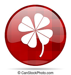 four-leaf clover red round circle glossy modern design web icon