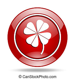four-leaf clover red web glossy round icon