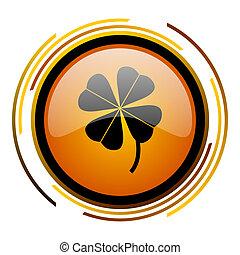four-leaf clover round design orange glossy web icon