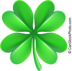 Four Leaf Clover Shamrock - An illustration of a green lucky...