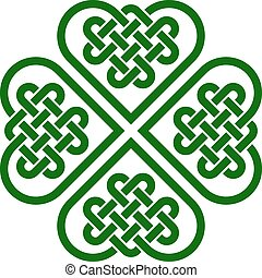 Four-leaf clover shaped knot made of Celtic heart shape...