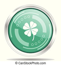 Four-leaf clover silver metallic chrome border round web icon, vector illustration for webdesign and mobile applications isolated on white background