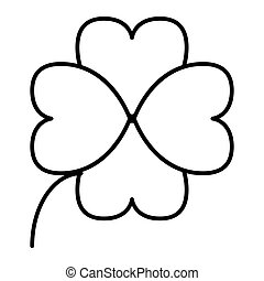 Four leaf clover thin line icon. Shamrock vector illustration isolated on white. Plant outline style design, designed for web and app. Eps 10.