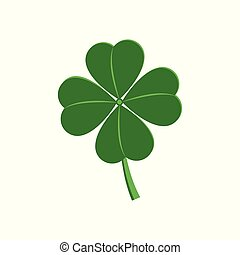 Four leaf clover - traditional symbol of luck for St Patrick Day celebration design in flat style.