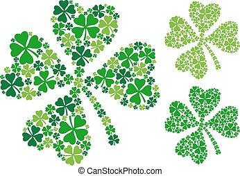 four leaf clover, lucky clover for St. Patrick's day, vector illustration