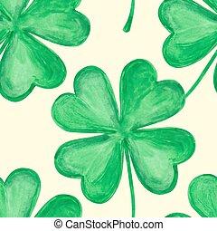 Four leaf clover - Vector four-leaf clover. Seamless pattern...
