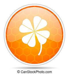 Four-leaf clover web icon. Round orange glossy internet button for webdesign.