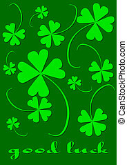 Four leaf clovers, version with text