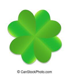 Four-leaf Green Clover. Vector Illustration.