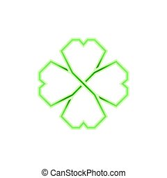 Four leaf green shamrock in Celtic style, vector -...