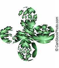 four leafed clover  on white,  shamrock
