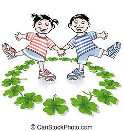 four-leafed, enfants, trèfle