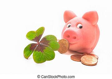 four-leafed, piggybank, trèfle