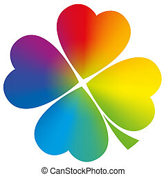 Four leaved clover with circular rainbow gradient coloring. Isolated vector illustration on white background.