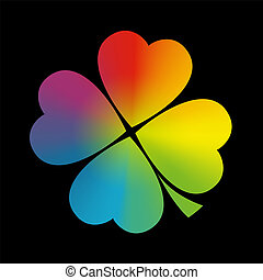 Four leaved cloverleaf with circular rainbow gradient coloring. Isolated vector illustration on black background.