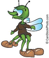Four-legged Bug - Colored Cartoon Illustration, Vector