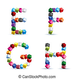 Four letters made of colored blocks