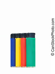 Four lighters of different colours