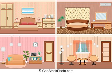 Four Living Room Interiors In One Set Bedroom And Hall Design With Furniture Fully
