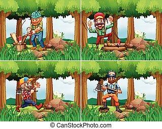 Four lumberjack chopping woods