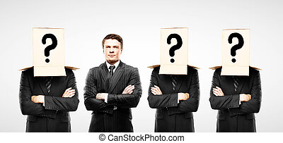 four man with box on head