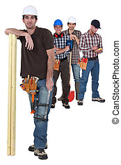 Four manual worker from different trades