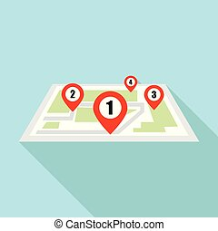 Four map pin icon, flat style