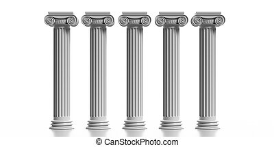 Four marble pillars columns classic greek isolated against white background. 3d illustration