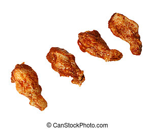 four marinated chicken wings - Four marinated chicken wings...
