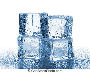 Four melted ice cubes