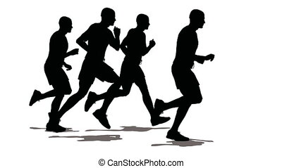 Four men of the sportsman run. Black on white.