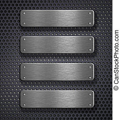 four metal plates over grid background