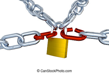 Four Metallic Chains with Two Stressed Link Locked with a Padlock