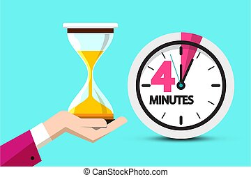 Four Minutes Clock Symbol. Vector 4 Minute Hourglass Icon in Human Hand.