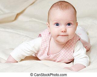 Four month infant - Portrait of attentive four month baby ...