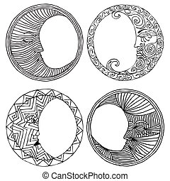 four moons - illustraton of four moons on white background