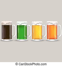 four mug of different beer.