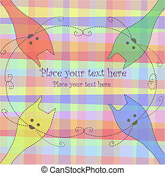 Four multi-colored cats on a checkered background