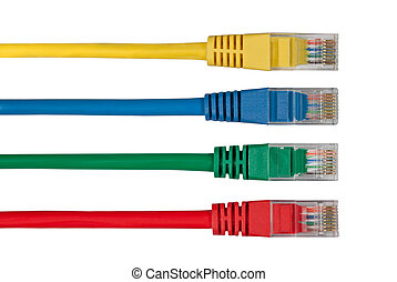 Four Multi Colored Network Cables. Red, Yellow, Green, Blue...