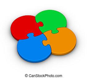 four multicolor puzzles
