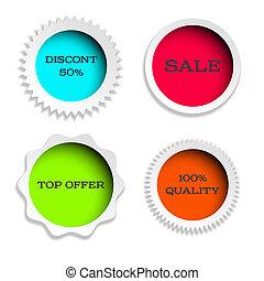 four multicolored label