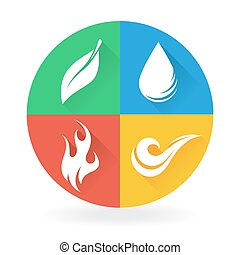 Four Natural Elements - Earth, Water, Air and Fire
