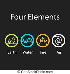 four natural elements symbols - illustration for the web