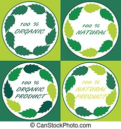 Four natural logo or label with green leaves in circle
