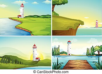 Four nature scenes with lighthouse by the ocean illustration