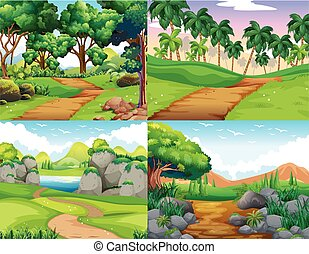 Four nature scenes with trail in the woods
