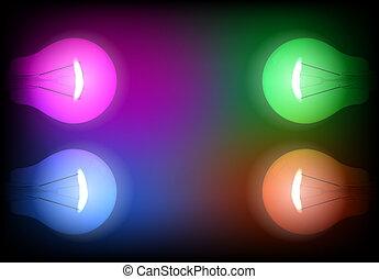 Four neon light bulb illustration