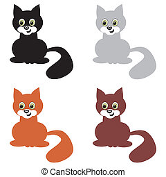 four nice cats on white background