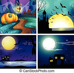 Four night scenes with fullmoon