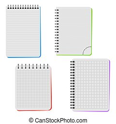 Four notebooks on a white background